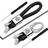 VILLSION 2Pack Genuine Leather Key Chain Car Logo Keychain for Driver Gift Braid Strap Key Ring