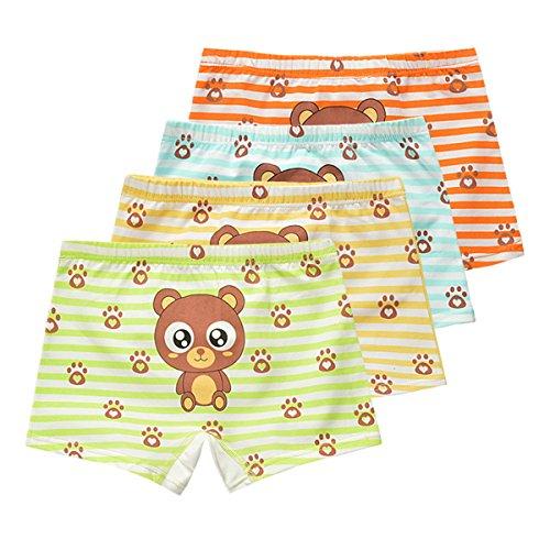 FAIRYRAIN 4 Packung Baby Kleinkind Mädchen Cartoon AFFE Baumwollunterhosen Pantys Hipster Shorts Spitze Unterwäsche 4-6 Jahre