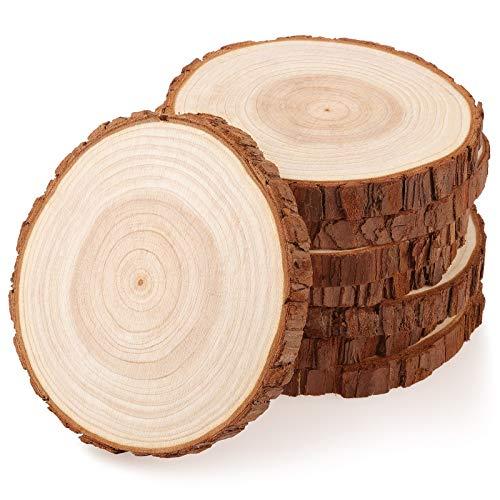 Fuyit Holzscheiben 8 Stücke Holz Log Scheiben 13-14 cm Unvollendete Holzkreise Ungebohrte Holzkreise ohne Loch für DIY Handwerk Holz-Scheiben Hochzeit Mittelstücke Weihnachten Dekoration Baumscheibe