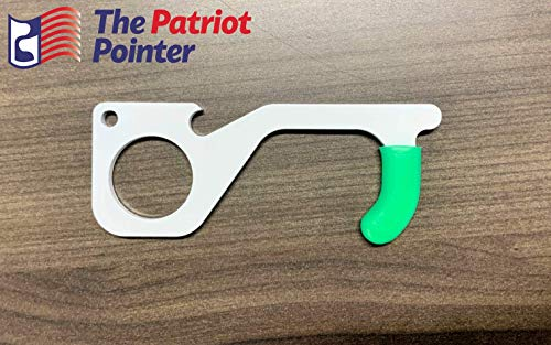 MADE IN USA - Contact Free Door Opener - The Patriot Pointer - Includes Bottle Cap Opener - Made of Antimicrobial White Steel - Sold in One
