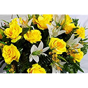 Spring or Easter Cemetery Flowers with Yellow Roses and Easter Lilies for Grave Decorations