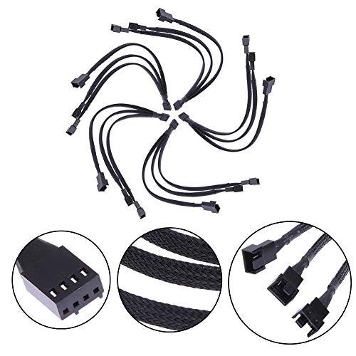 Heatigo 2 Set PWM Lüfter Verlängerungs Kabel Steckergehäuse Geflochtenen Ärmeln Verlängerung Lüfterkabel 1 bis 3 Konverter, Schwarzes Sleeved Geflochten