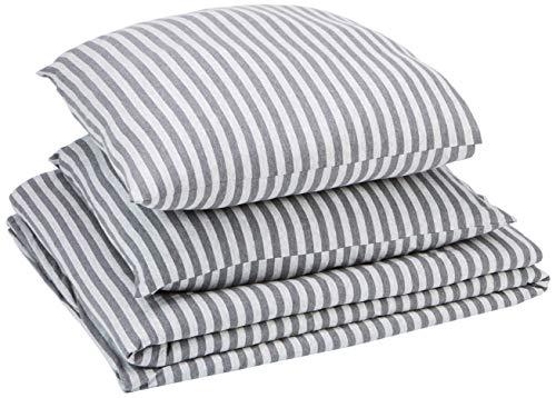 AmazonBasics Parure de lit en jersey, rayures, - 240 x 220 cm / 65 x 65 cm, Gris clair
