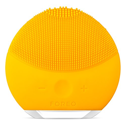 FOREO LUNA Mini 2 Facial Cleansing Brush for All Skin Types with Gentle Exfoliation and Sonic Cleansing, Sunflower Yellow