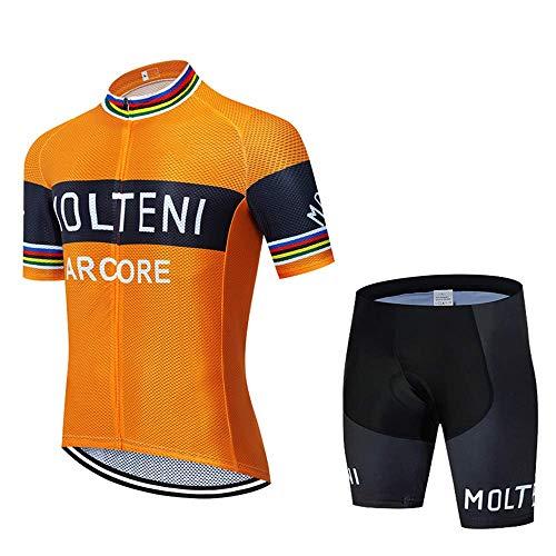 Wsaman Jersey de ciclismo para hombre, jersey de ciclismo corto + pantalones cortos de ciclismo con almohadilla para el asiento, ropa de ciclismo para hombre, verano