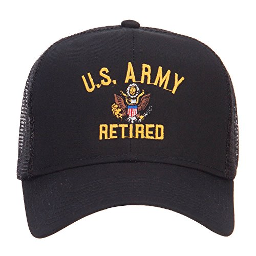 e4Hats.com US Army Retired Military Embroidered Mesh Cap - Black OSFM