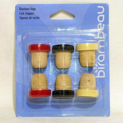 Birambeau Tappi Sughero Testa plastica Colore X 6*