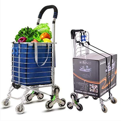 WYZXR Einkaufswagen,zusammenklappbarer Einkaufswagen auf Rädern Großer und Leichter Einkaufswagen mit Abnehmbarer Tasche,maximale Kapazität 70 kg,35 l,blau a/a