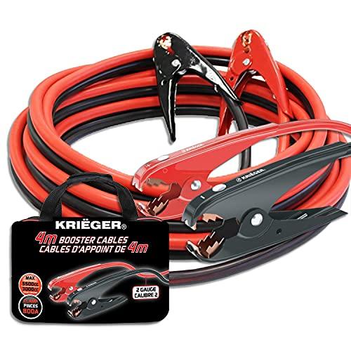 K KRIËGER Cables de Arranque Krieger, 4 Metros, Pinzas de 800Amp, 35mm², Ideal para Bateria de Coches, Motocicletas, Camiones Gasolina/Diesel – Incluye Bolsa de Almacenamiento