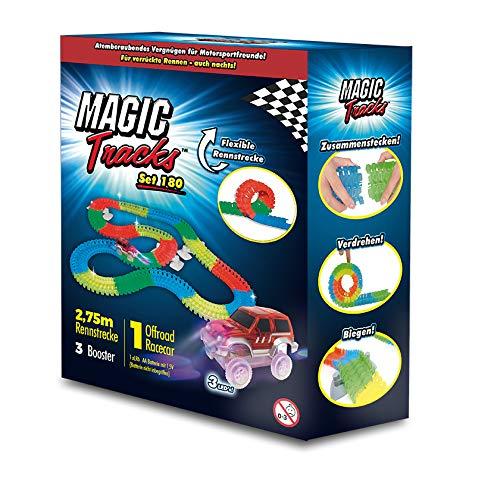 BCdirekt Magic Tracks Set mit rotem Auto | 2,75 m Autorennbahn für Kinder ab 3 Jahren | Autobahn Kinder | Autorennbahn Leuchtend