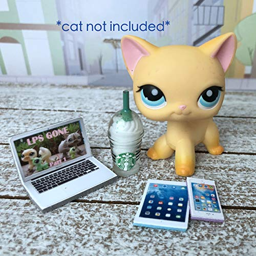 LPS Littlest Pet Shop 4 Accessories Lot Frappuccino Laptop Phone Tablet