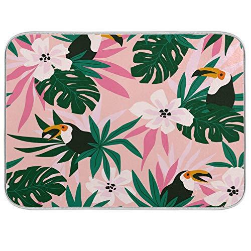 HaJie - Alfombrilla de secado rápido de microfibra, diseño de hojas tropicales de palma tropical, lavable para encimera de cocina, para platos, cristal, 40,6 x 45,7 cm