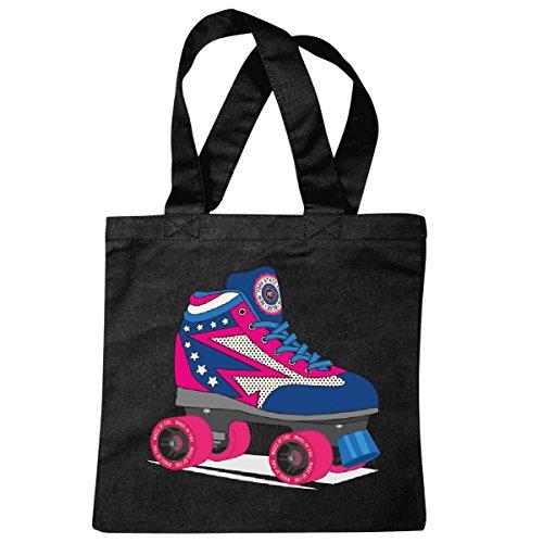 Tasche Umhängetasche Disco Roller - Skates - 80er Jahre Rollschuhe - Retro - Rollschuhlauf - Inliner Einkaufstasche Schulbeutel Turnbeutel in Schwarz