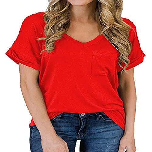 Camiseta con Bolsillo con Cuello En V De Primavera Y Verano para Mujer Top Suelto De Manga Corta Rizado