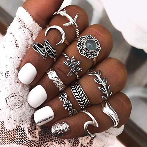 Simsly Vintage Starfish Kunckle Rings Silver Stackable Joint Leaf Finger Rings Set Moon Nail Accessories Jewelry for Women and Girls(Pack of 11)