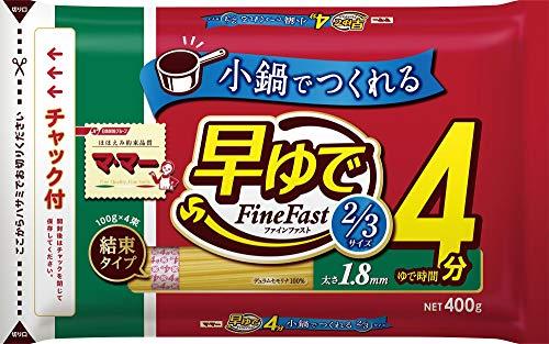 日清フーズ マ マー 早ゆで4分スパゲティ2/3サイズ1.8mm チャック付結束タイプ (400g) ×12個