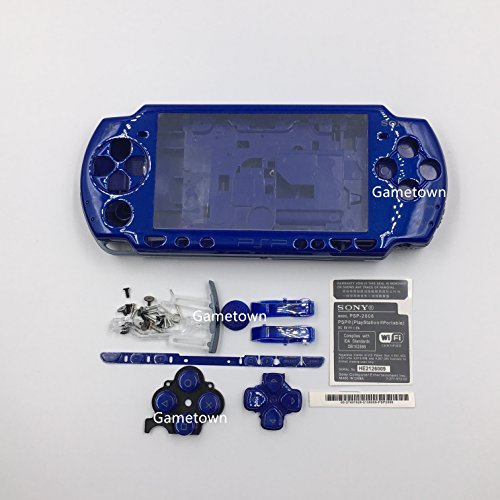 New Replacement Sony PSP 2000 Console Full Housing Shell Cover with Buttons Set -Blue.