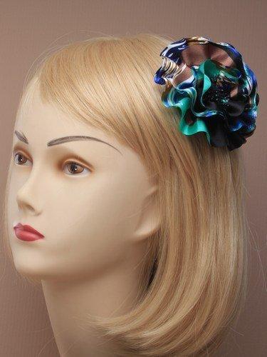 Teal Multi-Print Satin Flower Beak Clip IN4050 by Beak Clips