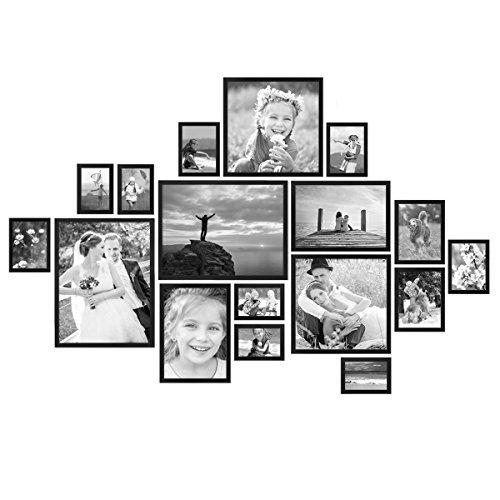 PHOTOLINI 17er Bilderrahmen-Set Modern Schwarz aus MDF 10x15 bis 30x40 cm/Bildergalerie/Bilderwand