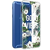 Funda Samsung Galaxy A6 2018, Eouine Cárcasa Silicona 3D Suave Gel TPU Transparente con Dibujos Diseño [Antigolpes] de Protector Fundas para Movil Samsung A62018-5,6 Pulgadas (Hojas y Flores)