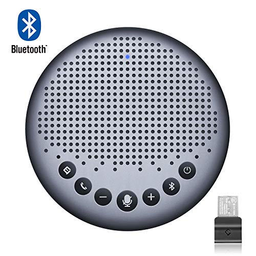 eMeet Bluetooth Freisprecheinrichtung - USB Konferenzlautsprecher für 6-10 Personen, Speakerphone 360° Spracherkennung, mit USB Doogle, für Zoom, Skype, VoIP-Kommunikation PC, Skype for Business usw.