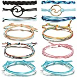 CARSHIER 12 Pieces Wave Strand Bracelet Set Handmade Adjustable Friendship Bracelet Handcrafted Jewelry Women B