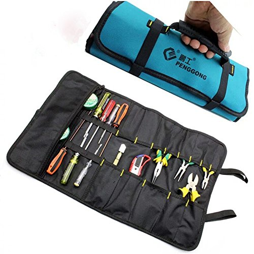 Tool Bag Socket Wrench Tool Roll Pouch Electricians Portable Reel Storage Rolling Tool Organizer Waterproof Oxford Canvas With Carrying Handle