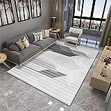 DJHWWD Teppich Designer grau Wohnzimmer Teppich grau klassisches Streifenmuster Anti-Milben Teppich...