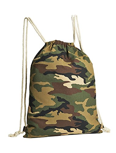 3 bolsas-mochilas en óptica de camuflaje, 100% algodón, tamaño 44 x 34 cm mochila de algodón, mochila para gimnasio, bolsa juvenil, bolsa para niños