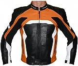German Wear Motorradjacke Lederjacke Biker lederjacke 4x Farbauswahl, Frabe:Orange;Größe:L
