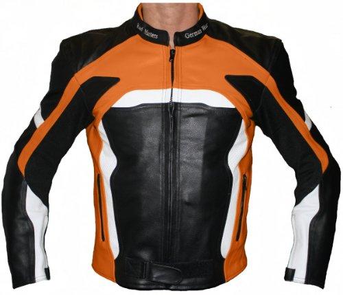 German Wear Motorradjacke Lederjacke Biker lederjacke 4x Farbauswahl, Frabe:Orange;Größe:S