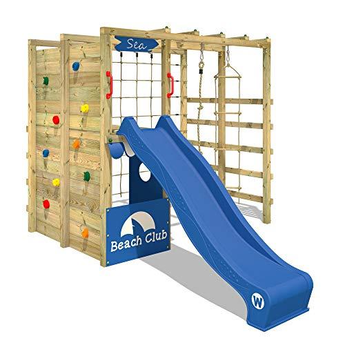 WICKEY Klettergerüst Spielturm mit Kletternetz, Kletterwand Kletterleiter 'Smart Allstar' - blaue Rutsche, blaue Plane