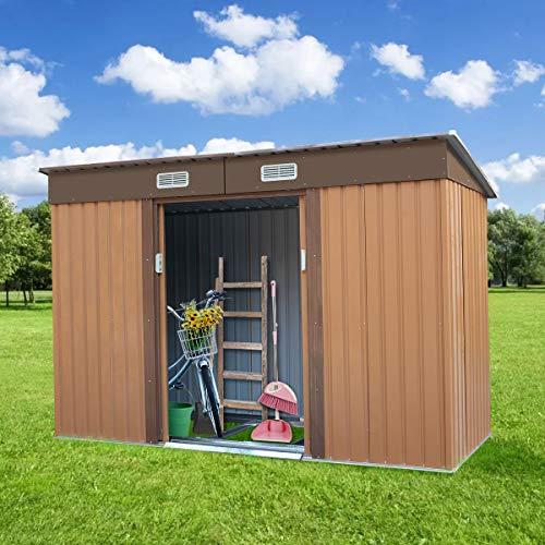 Outdoor Steel Garden Shed Garden Utility Tool Storage Backyard Lawn Building Garage Shed Sliding Door 4.2' x 9.1' Brown