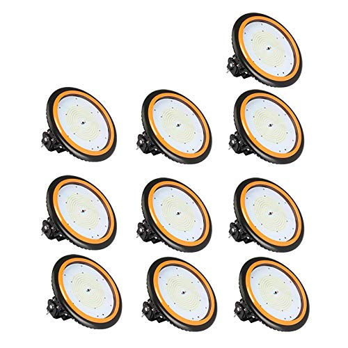 10×Anten UFO Projecteur LED 150W Industriel Phare de Travail de Super Luminosité 22000LM Spot High Bay Étanche IP65 Économique d'Électricité Lampe Extérieur Certification de CE TÜV (Blanc Neutre)