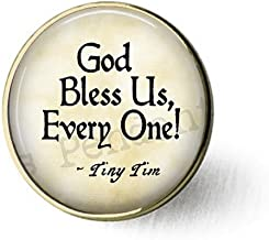 lukuhan God Bless Us Every One - Tiny Tim Quote - A Christmas Carol Jewelry - Tiny Tim Pendant - Christmas Carol Quote - Scrooge - Bah Humbug Brooch