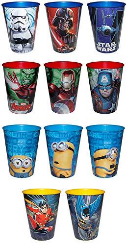 Diverse 4 Becher Minions Batman Star Wars Avengers Trinkbecher Saftbecher Zahnputzbecher