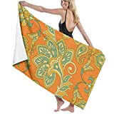 Ewtretr Toalla de Playa Flowers Floral Indian Style Pattern Microfiber Beach Towels Quick Dry Super Absorbent Bathing SPA Pool Towels, 31''* 51