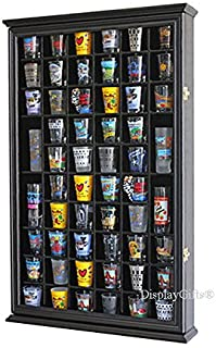 56 Shot Glass Shooter Display Case Holder Cabinet Wall Rack w/Solid Wood- BLACK Finish