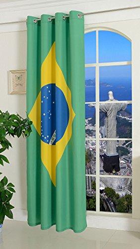 Gardine Vorhang Ösenschal Brasilien Flagge, 245x140 (HxB) Fußball WM 2014 UK Greece DE IT ES Brasil, 20360
