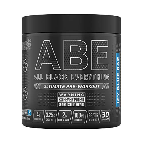 Applied Nutrition ABE - All Black Everything Pre Workout Energy, Increase Physical Performance with Citrulline, Creatine, Beta Alanine, Caffeine Vitamin B Complex, 315g, 30 Servings (ICY Blue Raz)