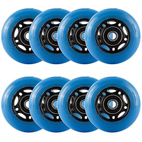 Yaegoo Inline Skate Wheels 8 Pack Skates Replacement Wheels with Bearings (Blue, 64mm)