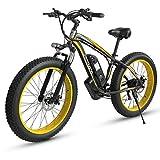 Shengmilo MX02, Bicicleta eléctrica, Motor 1000W, ebike Gordo de 26 Pulgadas, batería 48 V 17 AH (MX02 Amarillo (1000w))