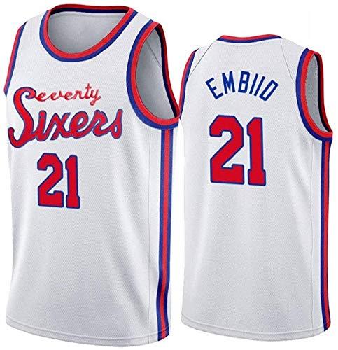 EWSDF Jersey sin Mangas Unisex Transpirable Bordado Baloncesto Swingman Jersey NO.21 XL Blanco