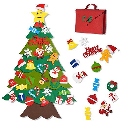 Joyjoz Feltro Albero Natale, Fai-da-Te in Feltro con 32 pz Decorazioni, Decorazioni di Natale da Appendere alla Parete, Kit Dono per Bambini, Accessori per Festa, Decorazione Casa