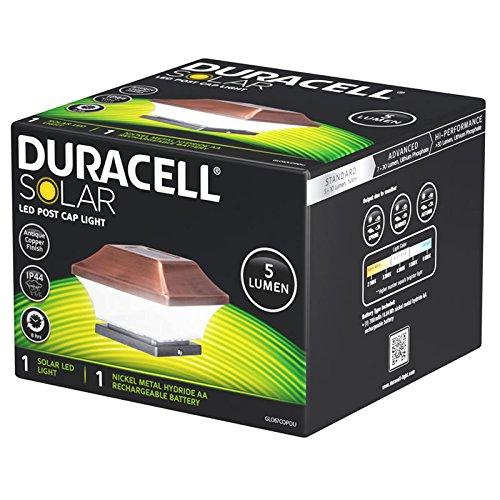 Duracell Zaunpfostenleuchte Solar LED Leuchte für Zaunpfähle, Garten Pfostenkappen, Zaunpfosten GL067COPDU mit 2 Adaptern in Kupfer Design und Kunststoff