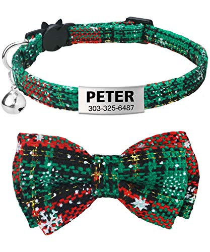 TagME Personalized Breakaway Cat Collar with Cute Bow Tie & Bell, Stainless Steel Slide-on Pet ID Tag Engraved with Name & Phone Numbers,1 Pack Christmas Green