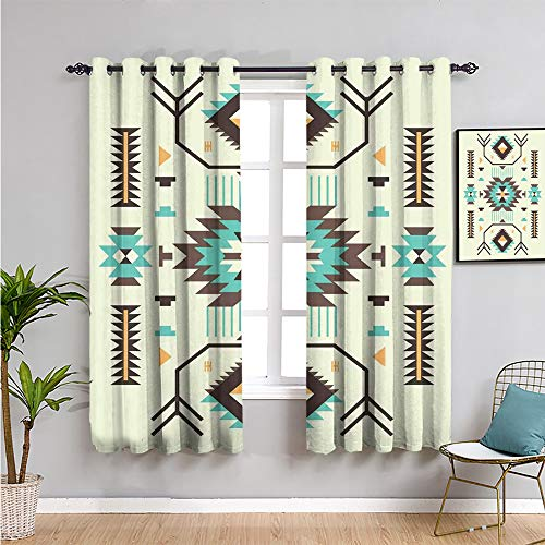 Xlcsomf Southwestern - Cortinas aisladas con diseño de patrón de 160 cm de largo de la cultura azteca antigua con motivos indígenas en zigzag, cortina para interiores multicolor de 52 x 63 pul
