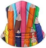 Clorful Multicolor Lápices de Dibujos Animados Calentador de Cuello Polaina Bufanda a Prueba de Viento para Hombres Mujeres Negro