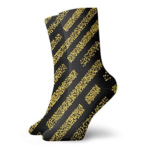 Unisex nahtloses Muster mit goldenem Glitzer, texturiert, atmungsaktiv, Knöchelsocken zum Laufen, Wandern, Wochenendsport, Sportsocken, kurze Crew-Socken, 30 cm