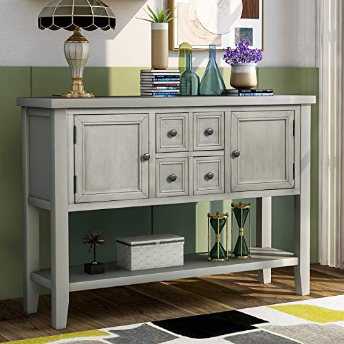 LUMISOL Wood Buffet Storage Table Sideboard Console Table with Two Cabinets and Bottom Shelf, Farmhouse Style (Antique Grey)